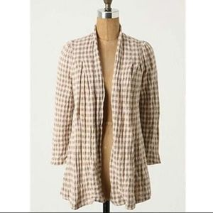 Knitted & Knotted Checked Open Cardigan Size M